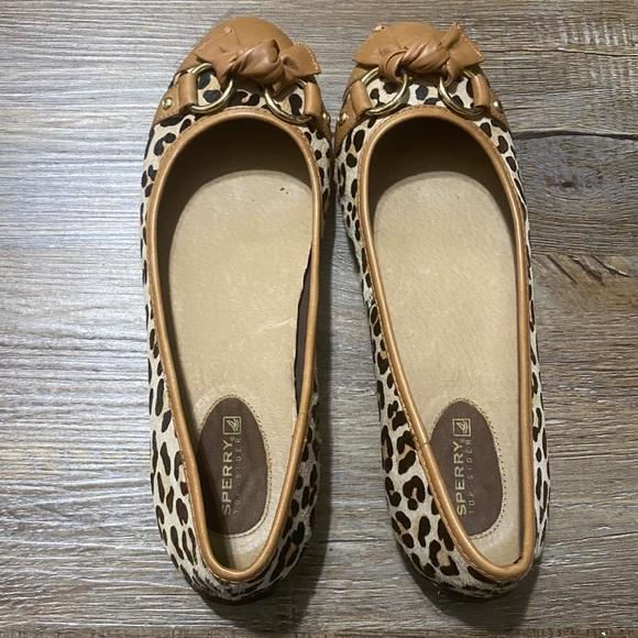 Sperry Flats Leopard Animal Print Tan Size 9